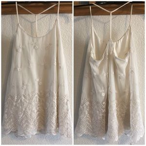 Tops - Tank Top w/ Floral Embroidery - Small